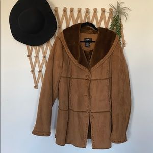 Dennis Basso faux suede coat fully lined size XL